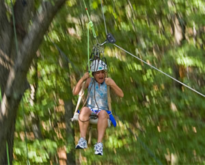 dana on a zip-line through the jungle!
